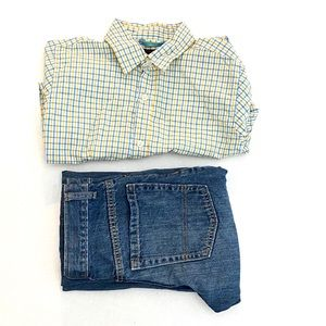 Boys Plaid Long Sleeve Button Up And Jean Set.